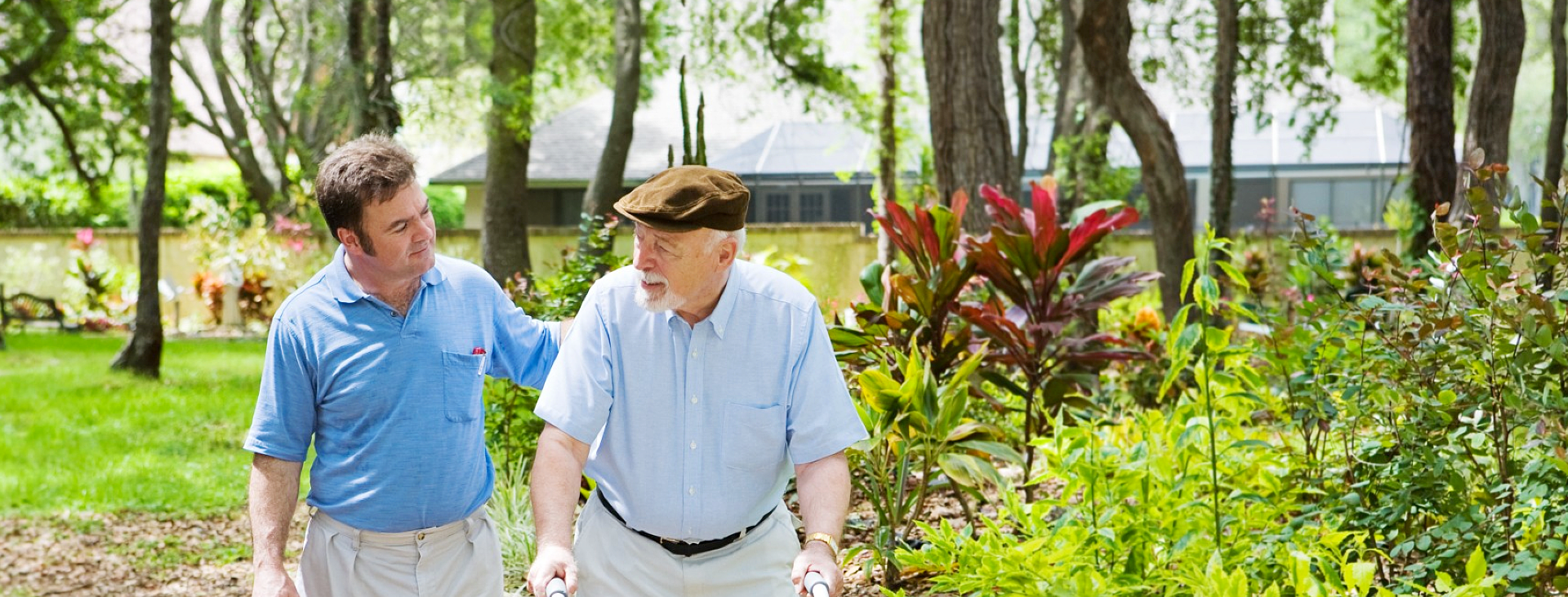 caregiver and patient in the garden